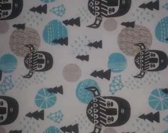 Viking Heads on cotton lycra jersey knit fabric - UK seller