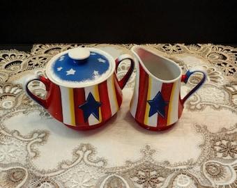 Fourth of July Sugar And Creamer Bowl, Patriotic Decor, Summer Decor, Home Decor, Kitchen Decor, Table Decor,