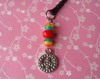 Colorful Beaded PEACE SIGN Dangle Dust Plug Charm Cell Phone iPhone Accessories