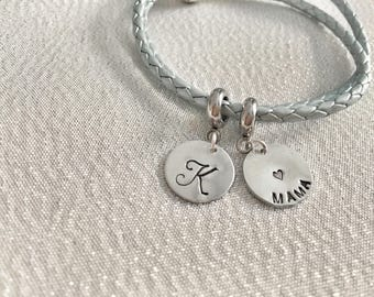 Hand stamped personalized european bead fits Pandora bracelets