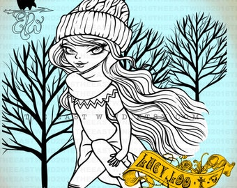 Digital stamp- Lucy Loo 'Canadian Winter' W/ Background - 300 dpi 4 JPEG/PNG files - MAC0350