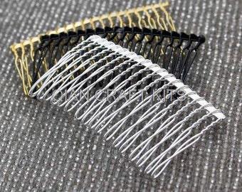 10pcs Metal hair comb fascinator supply 3 inch long mixed colors silver gold black DIY millinery, bridal  veil