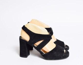 Vintage 90's Black Suede Strappy Slingback Sandals Heels