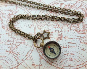 Compass necklace, working compass and star on antique bronze chain, travel nautical pirate jewellery