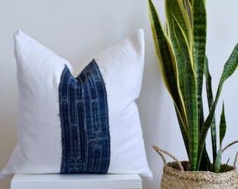 """Authentic Handprinted Batik Hmong Textile on White Linen Pillow Cover - 20"""" Square"""