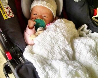 White Baby Blanket, White Christening Blanket, White Baptism Blanket, White Baby Afghan, Neutral Baby Blanket, Basketweave Crib Afghan