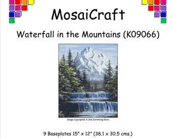 MosaiCraft Pixel Craft Mosaic Art Kit 'Waterfall in the Mountains' (Like Mini Mosaic and Paint by Numbers)