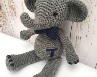 Crochet elephant, stuffed elephant, elephant plush, crochet stuffed animal, elephant toy, handmade stuffed animal, safari, zoo theme