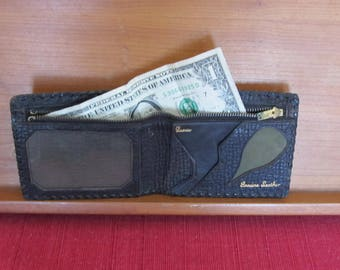 Fathers Day; Men's Accessories; Genuine leather wallet; black embossed leather billfold; 1930-1940