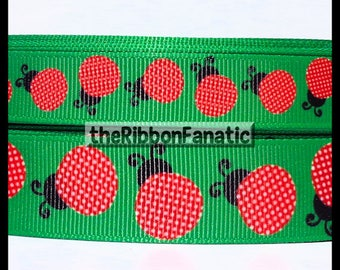 "5 yds 5/8"" or 7/8"" Sweet Red Polka Dot Ladybugs on Green Grosgrain Ribbon"