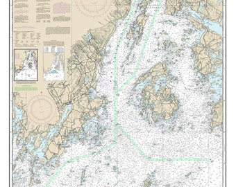 Penobscot Bay and Approaches - 2014 Maine Nautical Map Camden Rockport Vinalhaven - 80000 AC Custom Reprint ED 3:4 - Chart 1203
