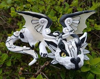 White and Black  Mini  Baby Dragon
