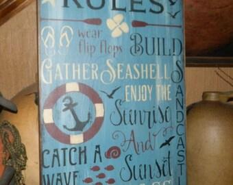 Beach Rules Primitive Sign