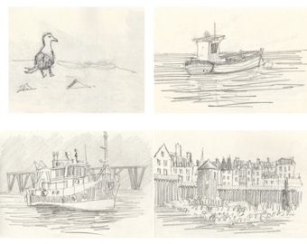 Lot of 4 (four) pencil drawing prints of Morbihan Brittany France print wall decor Bretagne landscape Brittany art france french wall decor