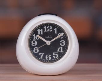 Mechanical Alarm Clock, German Alarm Clock, White Clock with black face, Made in GDR, Manual Winding