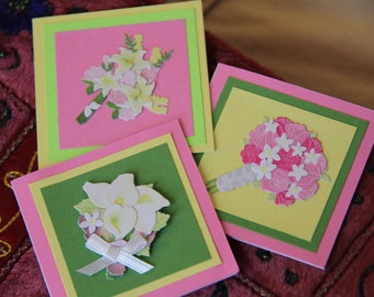 Flower Bouquet mini cards (set of 5) / wedding bouquet calla lily cards