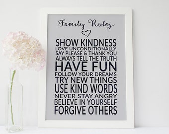 Family rules sign - family rules wall art - family print - family rules typography - family rules print - family quote print
