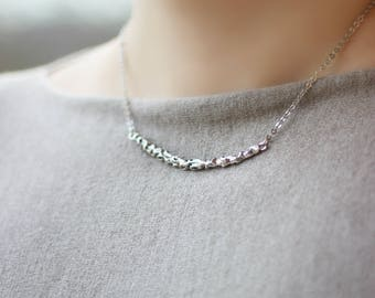 Silver Tone Necklace Silver Pendant Necklace Minimalistic Necklace Short Necklace Modern Necklace Simple Necklace Everyday Necklace
