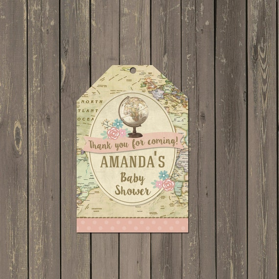 World travel baby shower favor tag world map travel favor tag il570xn sciox Images