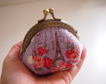 Eiffel Tower & Paris, Purple - Framed Coin Purse/ Change Purse/ Jewelry Pouch/ Kisslock- Handmade in Japan by Chikaberry