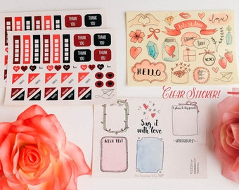 Valentine's Love Stickers (Planner, Erin Condren)