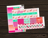 June Monthly View Planner Stickers Monthly Kit Vertical Kit Floral Stickers Monthly View Sticker Kit Planner Stickers MV006