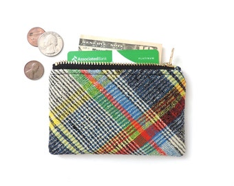 Plaid Wallet Coin Purse Zipper Pouch Slim Wallet Recycled