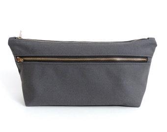 Canvas Toiletry Bag Double Zipper Dopp Kit Gray