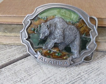 Pewter Alaska Belt Buckle Colorful  Enamel Bear On Front.