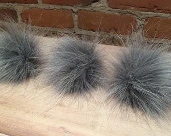 Faux Fur Pompom, 3.5 Inch, Grey Fox Pom, Faux Fur Pom Pom, Knit Hat Accessories, Fur Ball, Fake Fur Pom, Baby Pom, Child Hat Pom, Removable