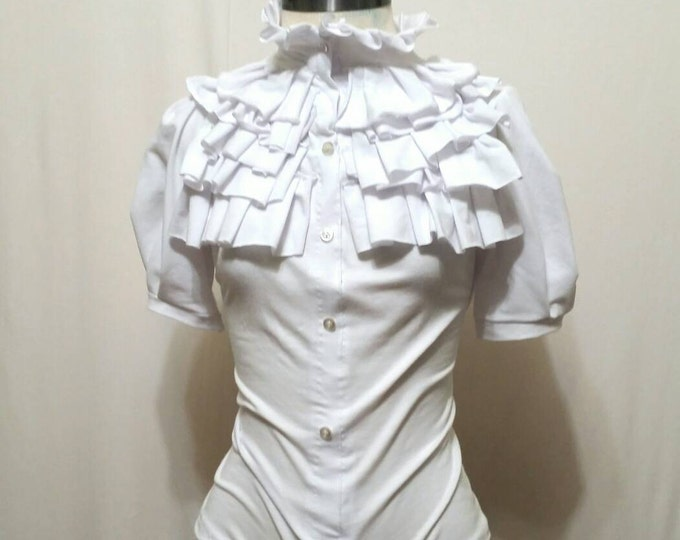 White Ruffle Top Blouse with Puff Sleeves.