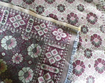 "Vintage 1950's 60's Cotton Tapestry Throw Bedspread Reversible 82"" x 52"""
