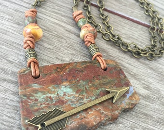 Follow Your Heart Stone Slab Necklace