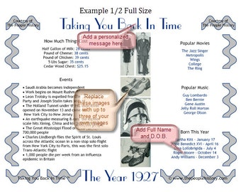 90th Birthday 1927 Personalized Print Party Favor