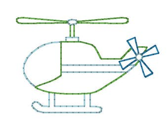 Sketch Outline VIntage Stitch Helicopter Quick Stitch Embroidery Design