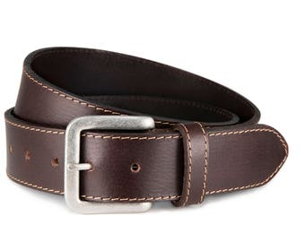 Leather belt dark brown buffalo leather antique silver buckle