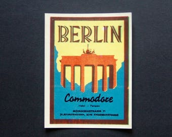 Vintage Luggage Label Berlin, Germany. The Brandenburg Gate, Commodore Hotel