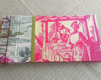 Red chinoiserie toile Japanese stab bound sketch book journal 140 pages
