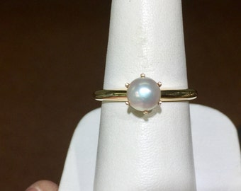 pearl 14k yellow gold ring