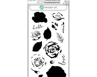 Hampton Art LAYERING Stamps - ROSES clear stamp set - Flowers Love Hello Thanks SCO754 1.cc02