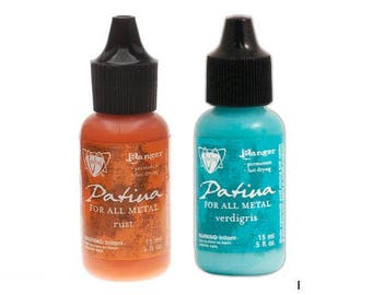 Vintaj Patina Metal Ink - RUST and VERDIGRIS, two .5 oz bottles - cc05 IN011