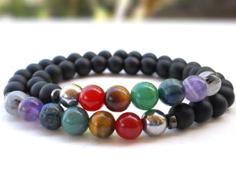 Seven Chakra couple's bracelet, Yoga couple's bracelets set, Chakra bracelets set, Best Friend's bracelet, Bridesmaid bracelet, Best Man