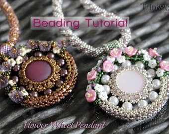 Tutorial for beadwoven necklace 'Flower Wheel' - PDF beading pattern - DIY