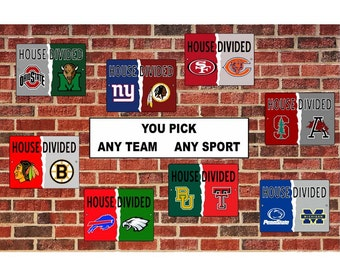 House Divided Sign - Any Teams custom personalized man cave metal sign aluminum sign street sign license plate house divided Wall or door