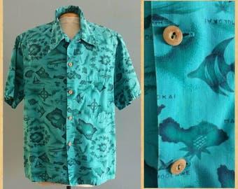 Mens vintage turquoise Hawaiian shirt