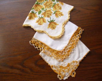 Vintage White Linen Handkerchiefs, Lace Handkerchief, Gold Handkerchief, Printed Handkerchief, Handkerchief Crochet, Gold Hanky Lot