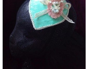 Bridal Fascinator Mint & Pale Rosa Vintage Lace Pearls Ivory Victorian Retro Pin Up Marie Antoniette - ready to ship