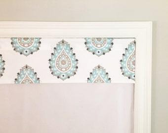 "Straight Valance.  Premier Prints Damask Twill Gunmetal/Canal.  Aqua.  Custom Sizing Available Up To 54"" Wide."