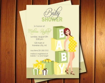 Blocks Baby Shower Invitations - Gender Neutral Baby Shower Invites Also available in African American