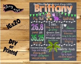 First Birthday Chalkboard 1st birthday stone age family girl chalk board photo prop customized first birthday poster digital file or printed